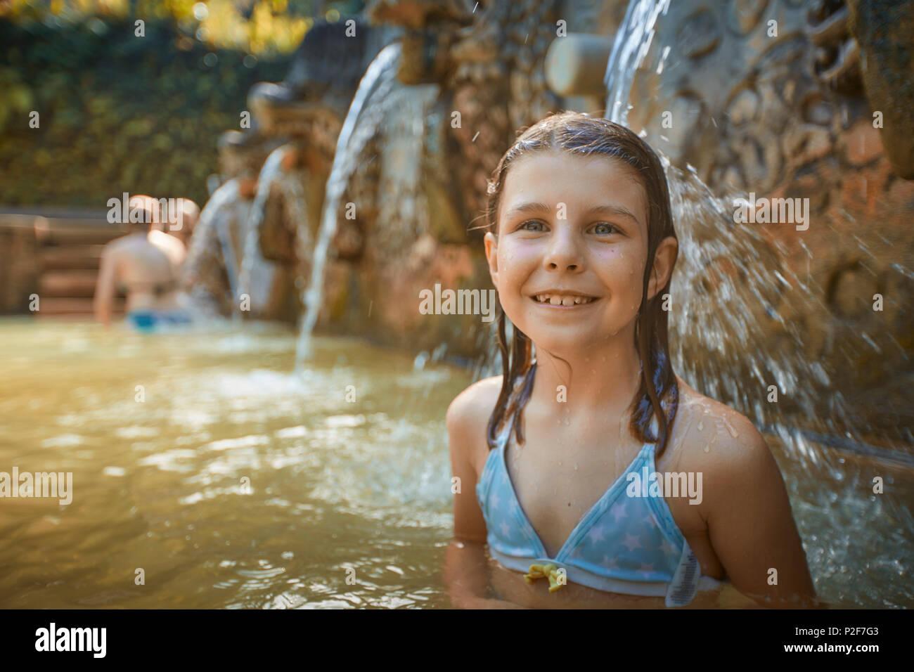 8-year-old, Hot Springs Air Panas Banjar at Bubunan, Bali, Indonesia Stock Photo