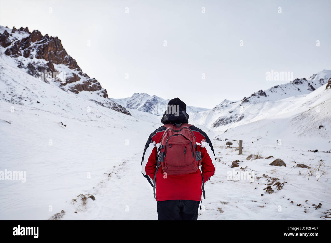 Hiker with red backpack walking around snowy mountain. Freedom of trekking concept. - Stock Image