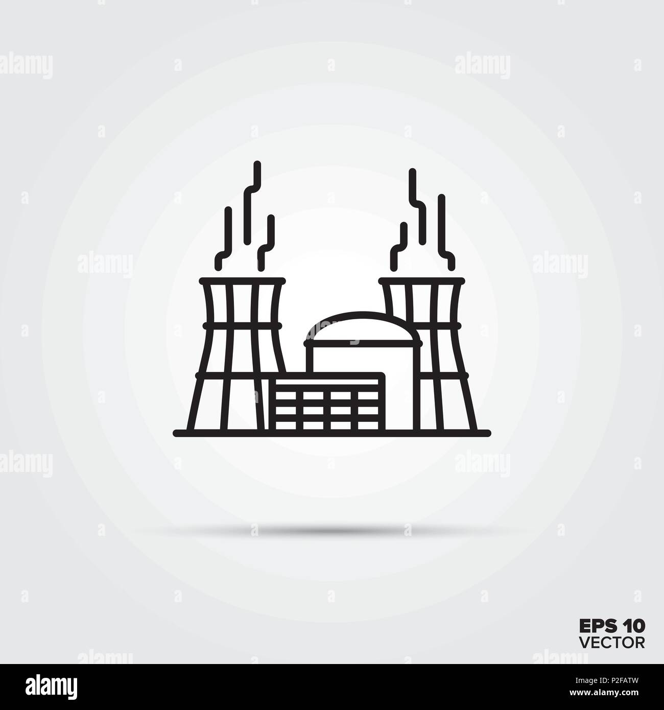Nuclear power plant line icon vector. Industry and energy symbol. - Stock Image
