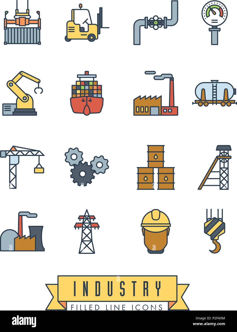 Collection of industry themed vector line icons with color fill - Stock Vector