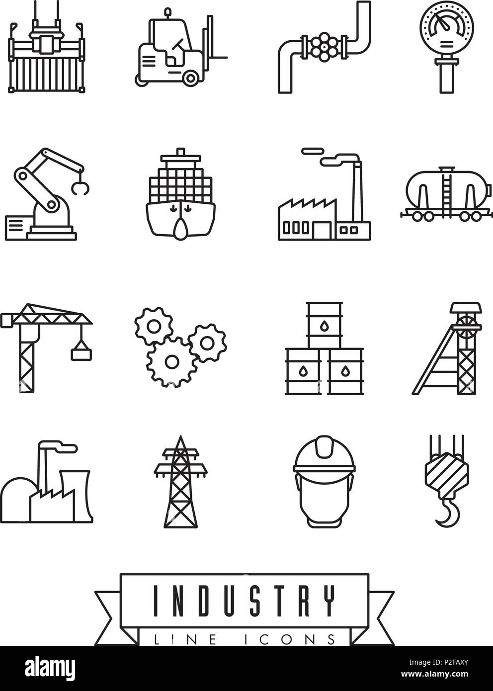 Collection of industry themed vector line icons - Stock Vector