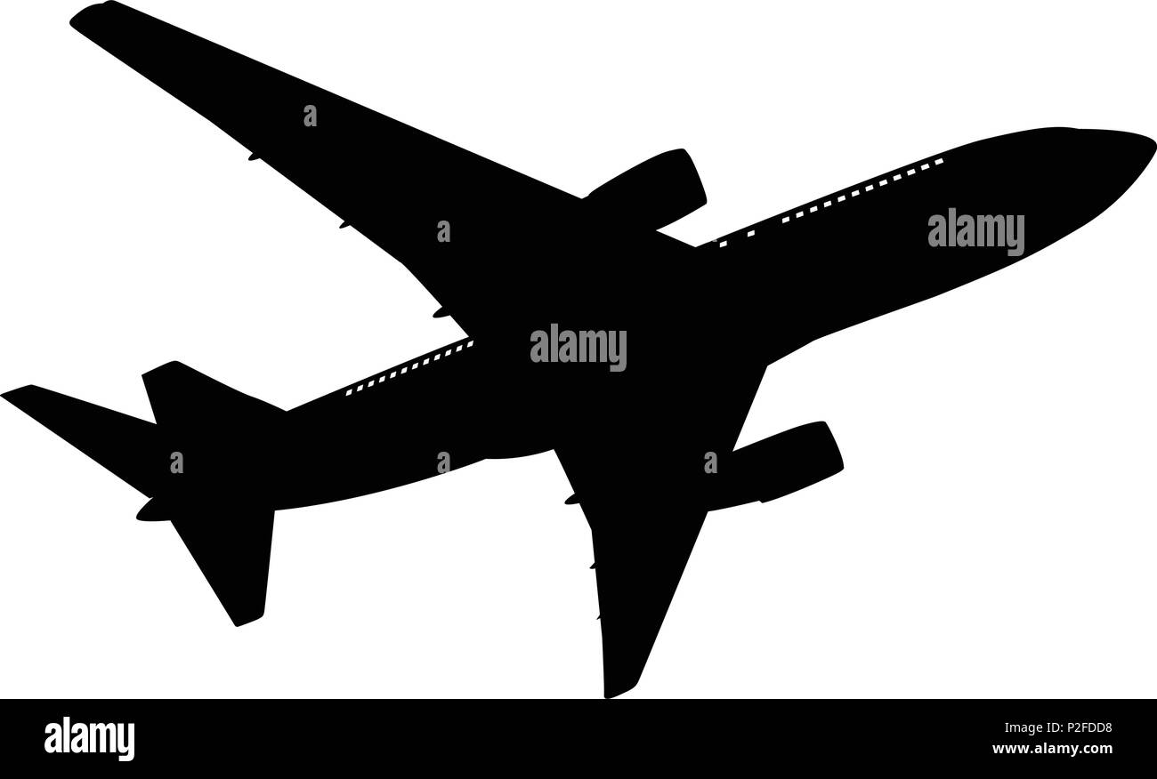 Airplane silhouette on white background. Vector illustration. - Stock Image