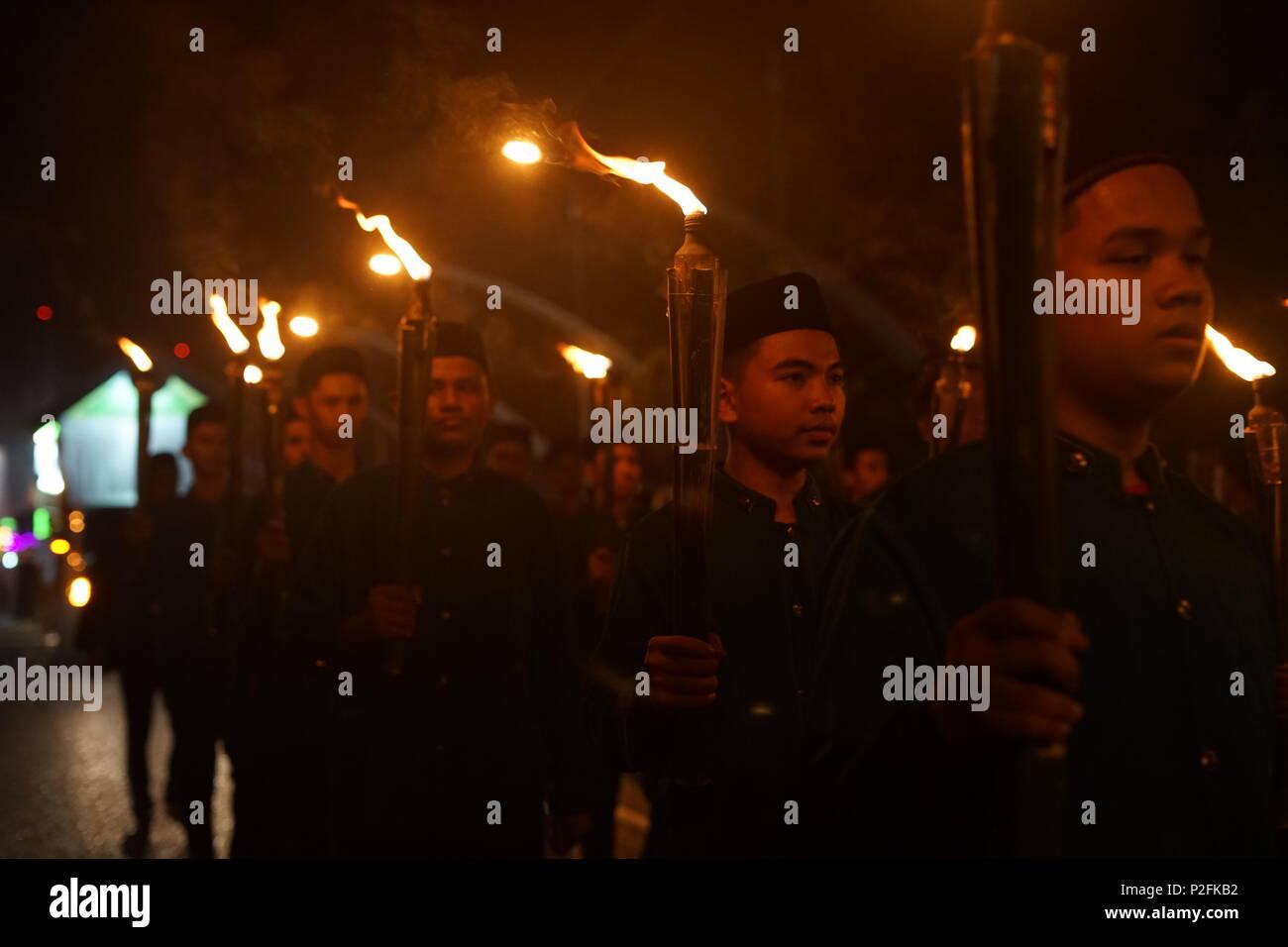 Banda Aceh, Aceh / Indonesia - June 14 2018:Lot of Indonesian Muslim watching carnival to celebration Eid Mubarak/Eid ul-Fitr in Banda Aceh, Indonesia - Stock Image