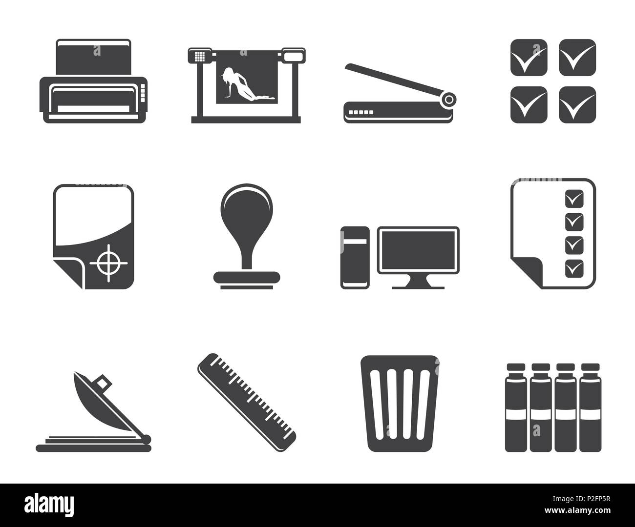 Silhouette Print industry Icons - Vector icon set - Stock Image