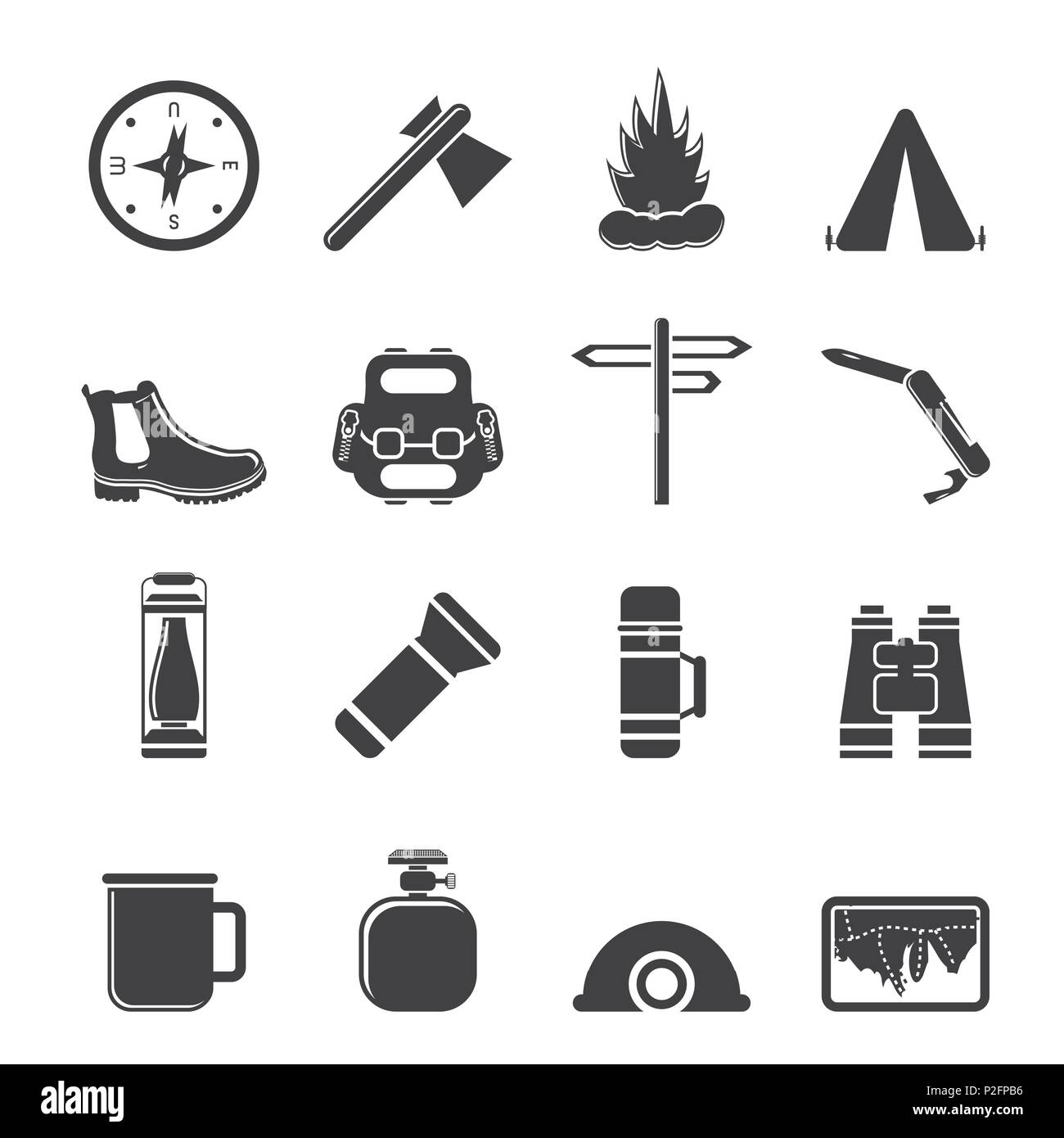 Silhouette Tourism and Holiday icons - Vector Icon Set - Stock Vector