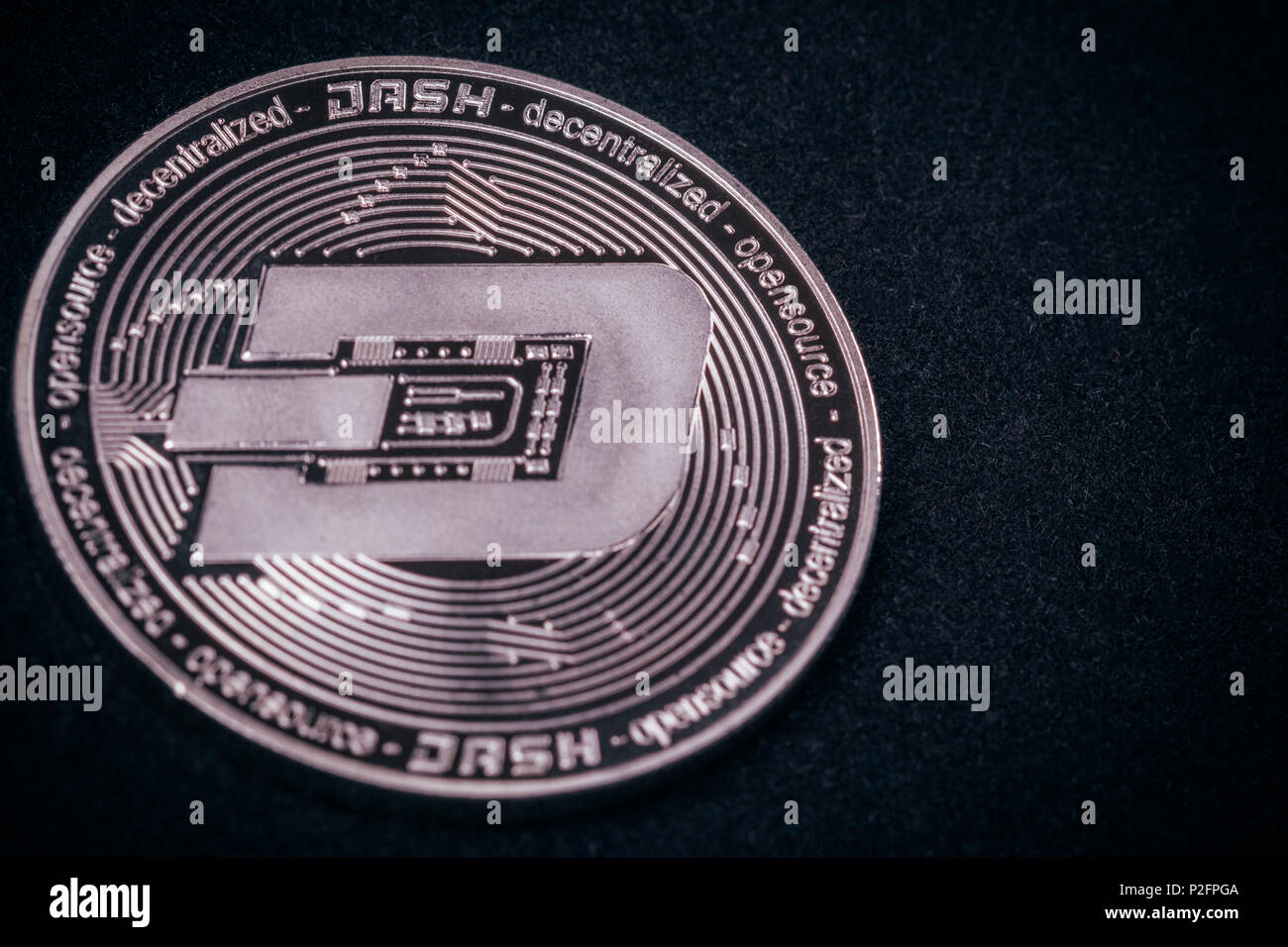 Beautiful coins of DESH close-up of Crypto-currency Stock