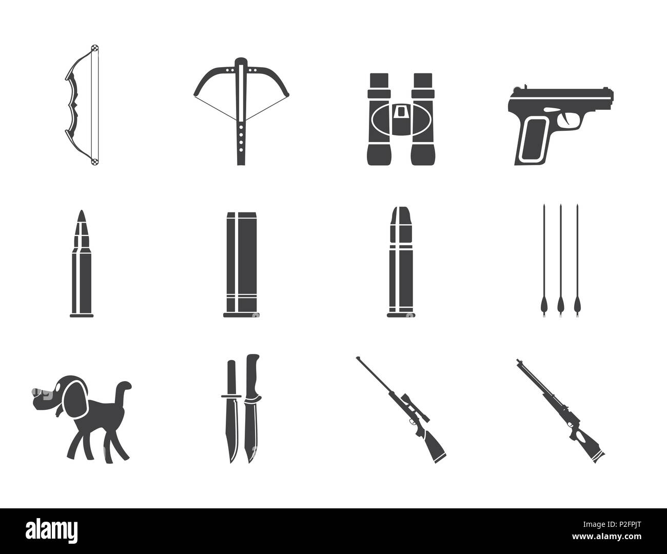 Silhouette Hunting and arms Icons - Vector Icon Set - Stock Vector