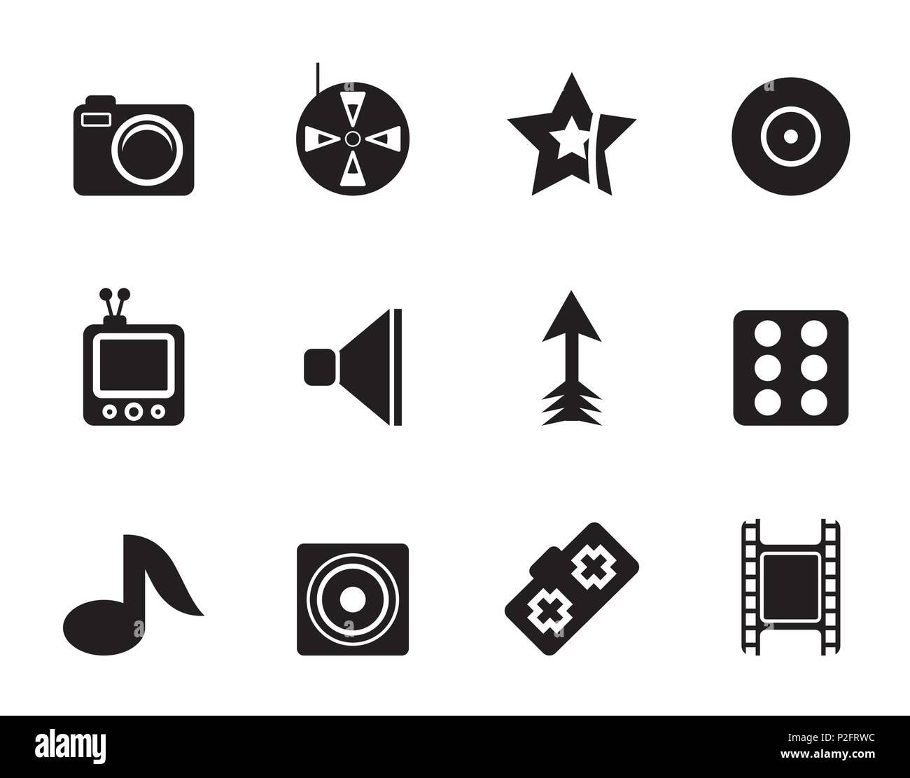 Silhouette Entertainment Icons - Vector Icon Set Stock Vector