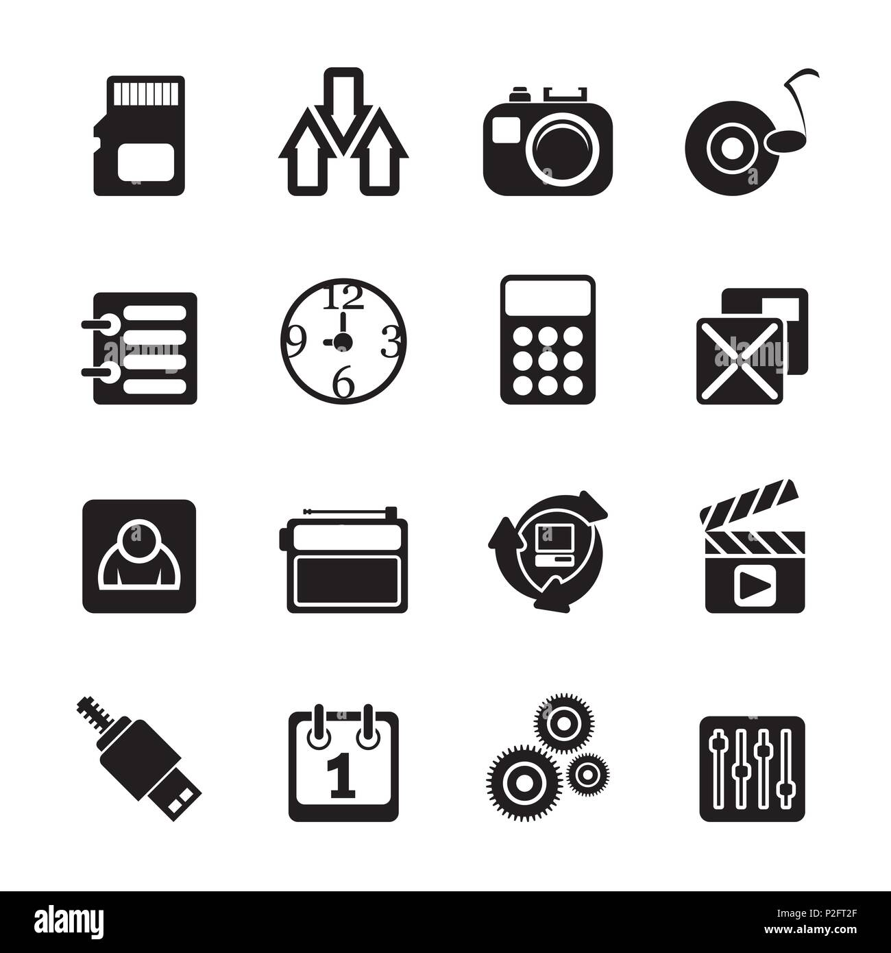 Silhouette phone  performance, internet and office icons - vector icon set - Stock Image