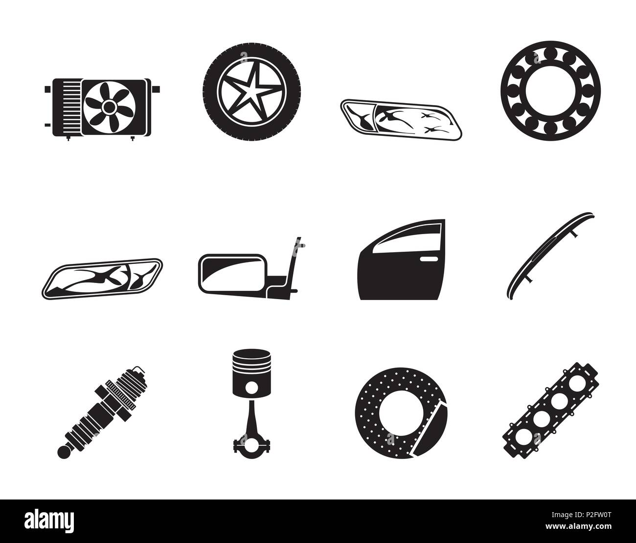 Silhouette Realistic Car Parts and Services icons - Vector Icon Set 1 - Stock Vector