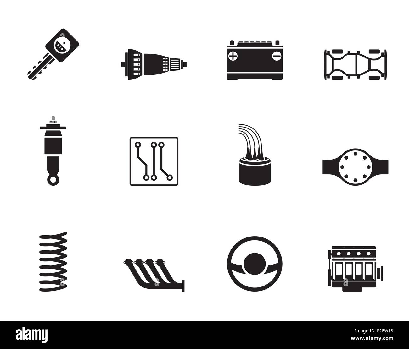 Silhouette Realistic Car Parts And Services Icons Vector Icon Set