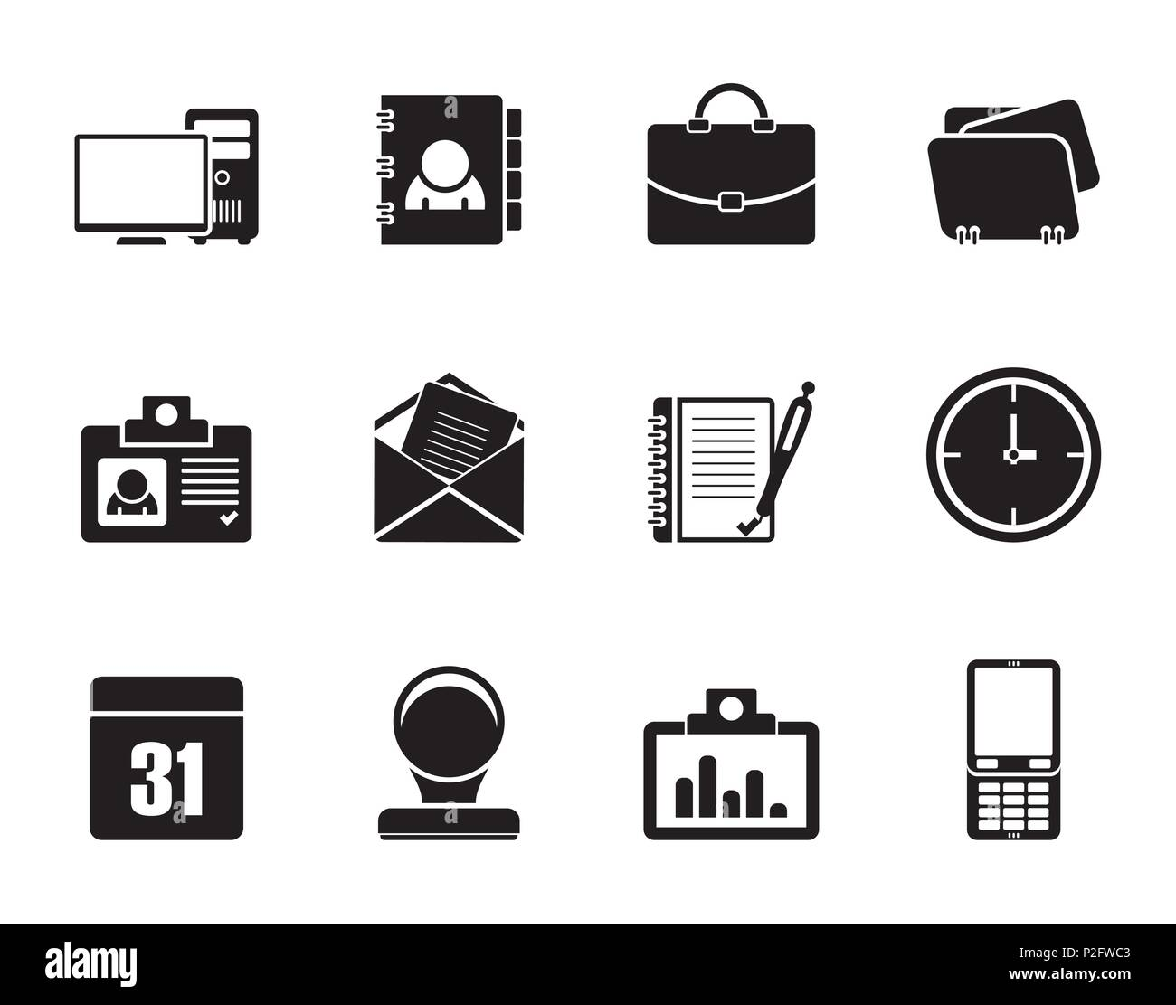 Silhouette Web Applications, Business and Office icons, Universal icons - vector icon set - Stock Image