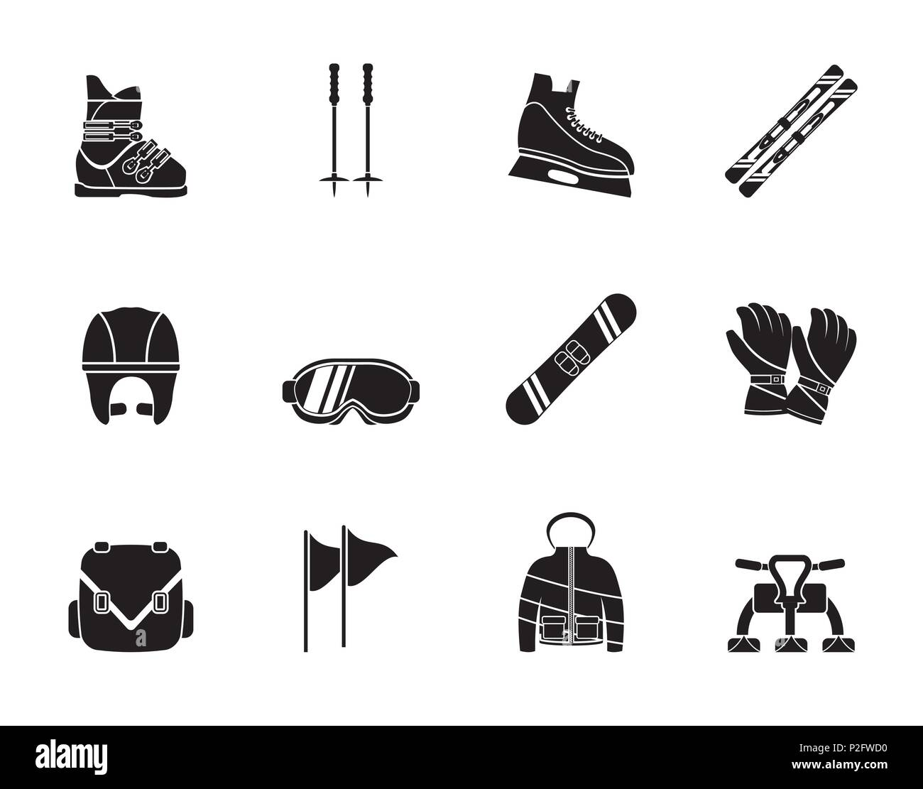 Silhouette ski and snowboard equipment icons - vector icon set - Stock Image