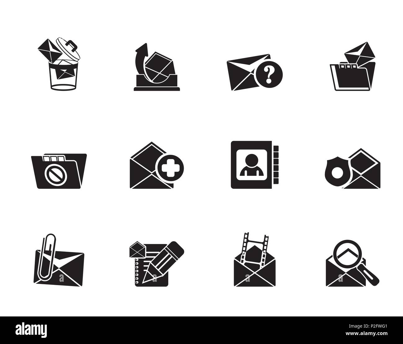 Silhouette E-mail and Message Icons - vector icon set - Stock Image