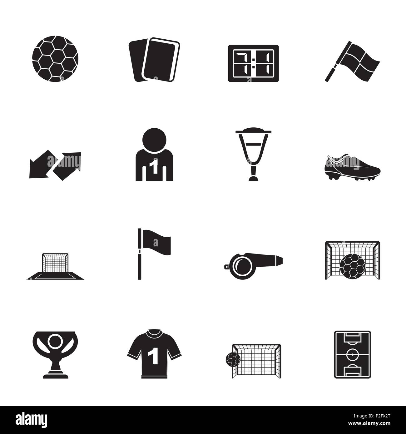 Silhouette football, soccer and sport icons - vector icon set - Stock Vector