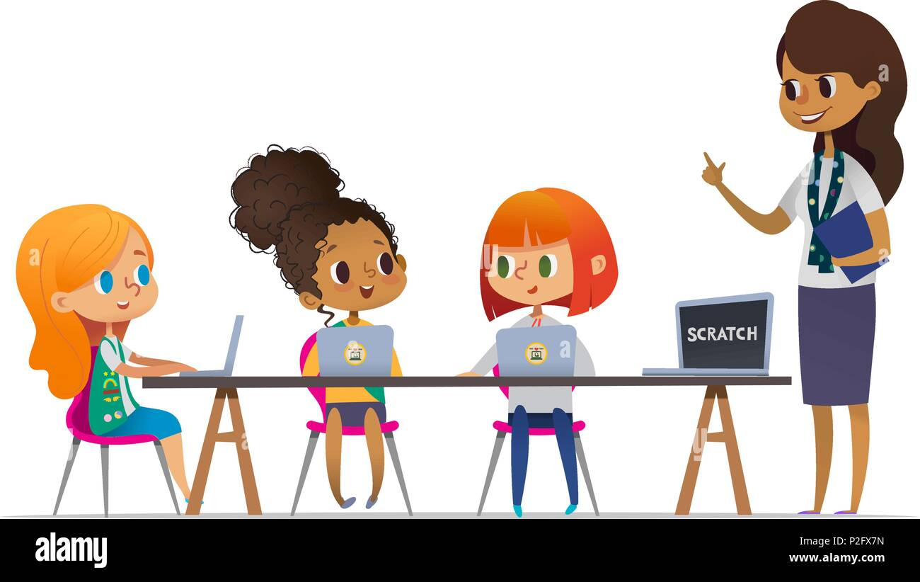 Happy girl scouts sitting at laptops and learning programming during lesson, smiling female troop leader standing near them. Concept of coding for children in scouting camp. Vector illustration. - Stock Image
