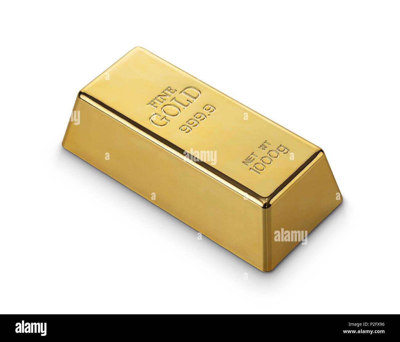 Gold bar isolated on white background - Stock Image
