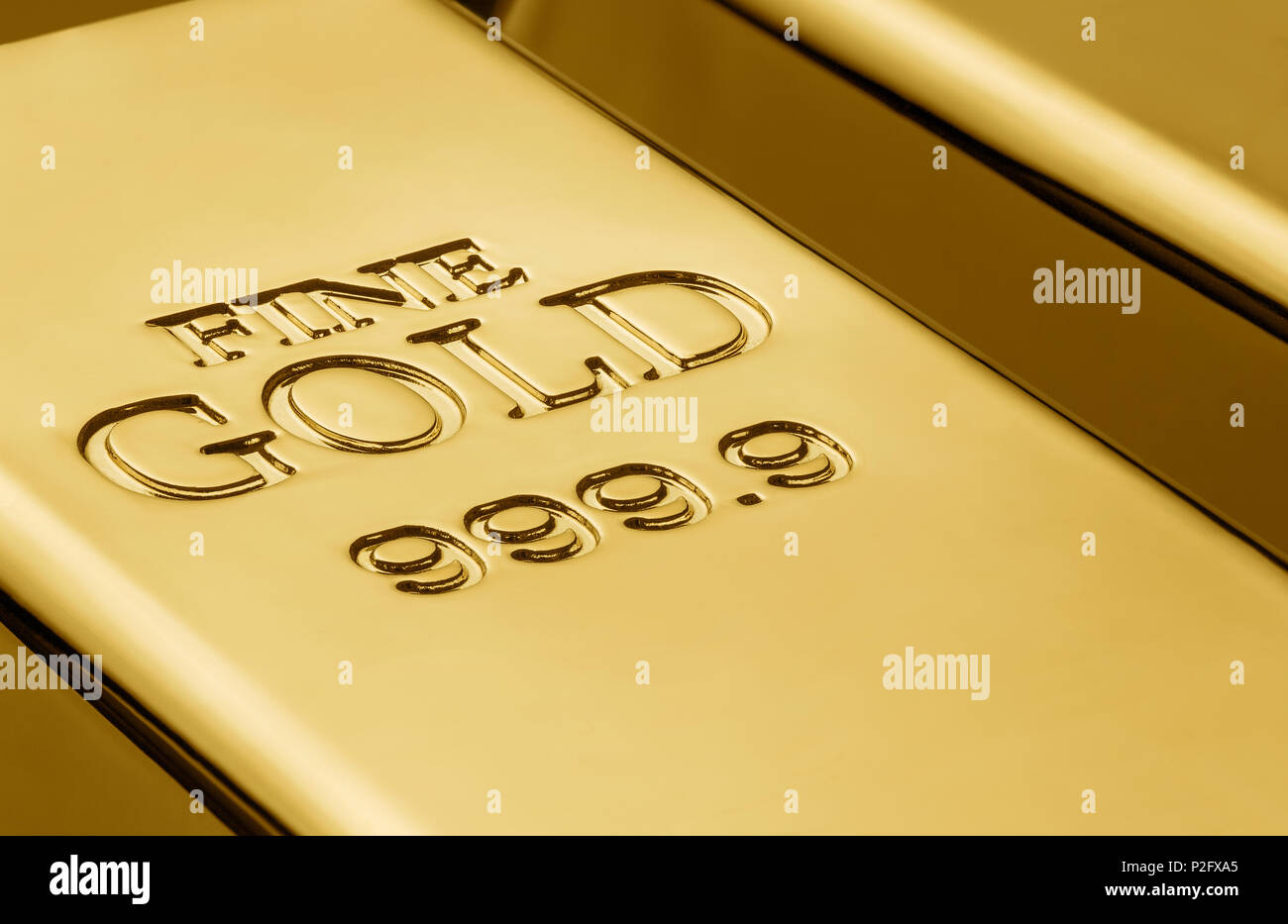 Close up of gold bars with copy space - Stock Image