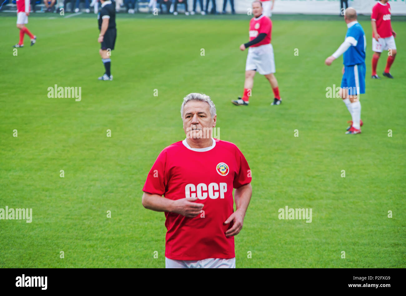 Dnipro, Ukraine - October 12, 2013: Celebrating the anniversary of the victories of 'Dnipro' in the USSR Championship in 1983 and 1988. Match veterans - Stock Image