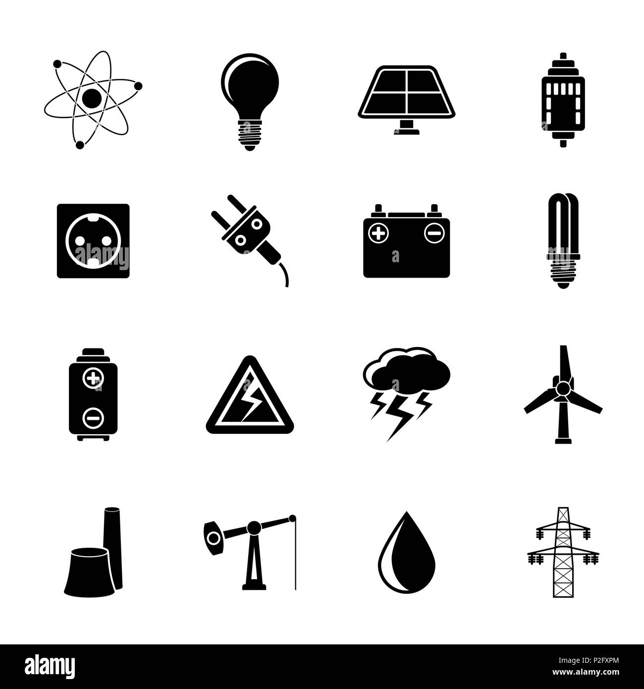 Silhouette Power and electricity industry icons - vector icon set - Stock Image