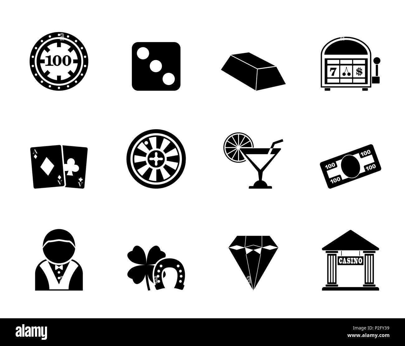 Silhouette casino and gambling icons - vector icon set - Stock Image