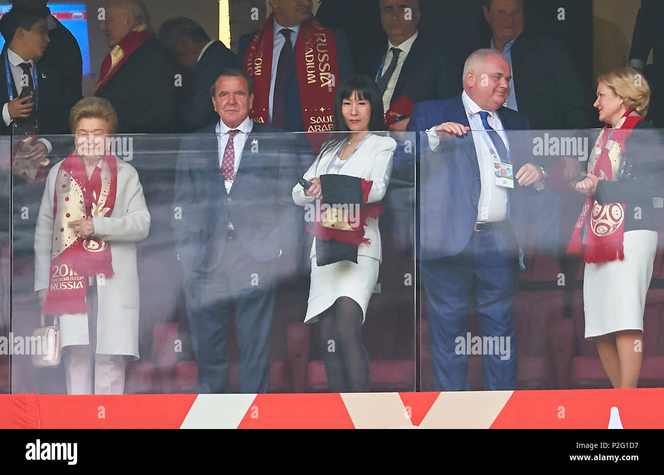 Russia- Saudi Arabia, Soccer, Moscow, June 14, 2018 Former german chancellor Gerhard Schröder with his wife So Yeon Kim,  RUSSIA - SAUDI ARABIA 5-0 FIFA WORLD CUP 2018 RUSSIA opening match, Season 2018/2019,  June 14, 2018 Luzhniki Stadium in Moscow, Russia. © Peter Schatz / Alamy Live News - Stock Image