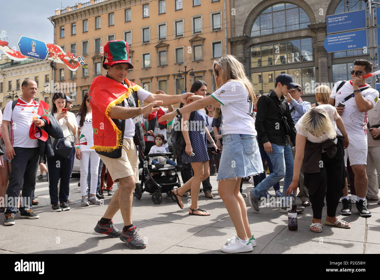 St. Petersburg, Russia, 15th June, 2018. Moroccan football fans in Saint-Petersburg on the day of first match of FIFA World Cup 2018 in the city. It is the match Morocco vs Iran Credit: StockphotoVideo/Alamy Live News - Stock Image