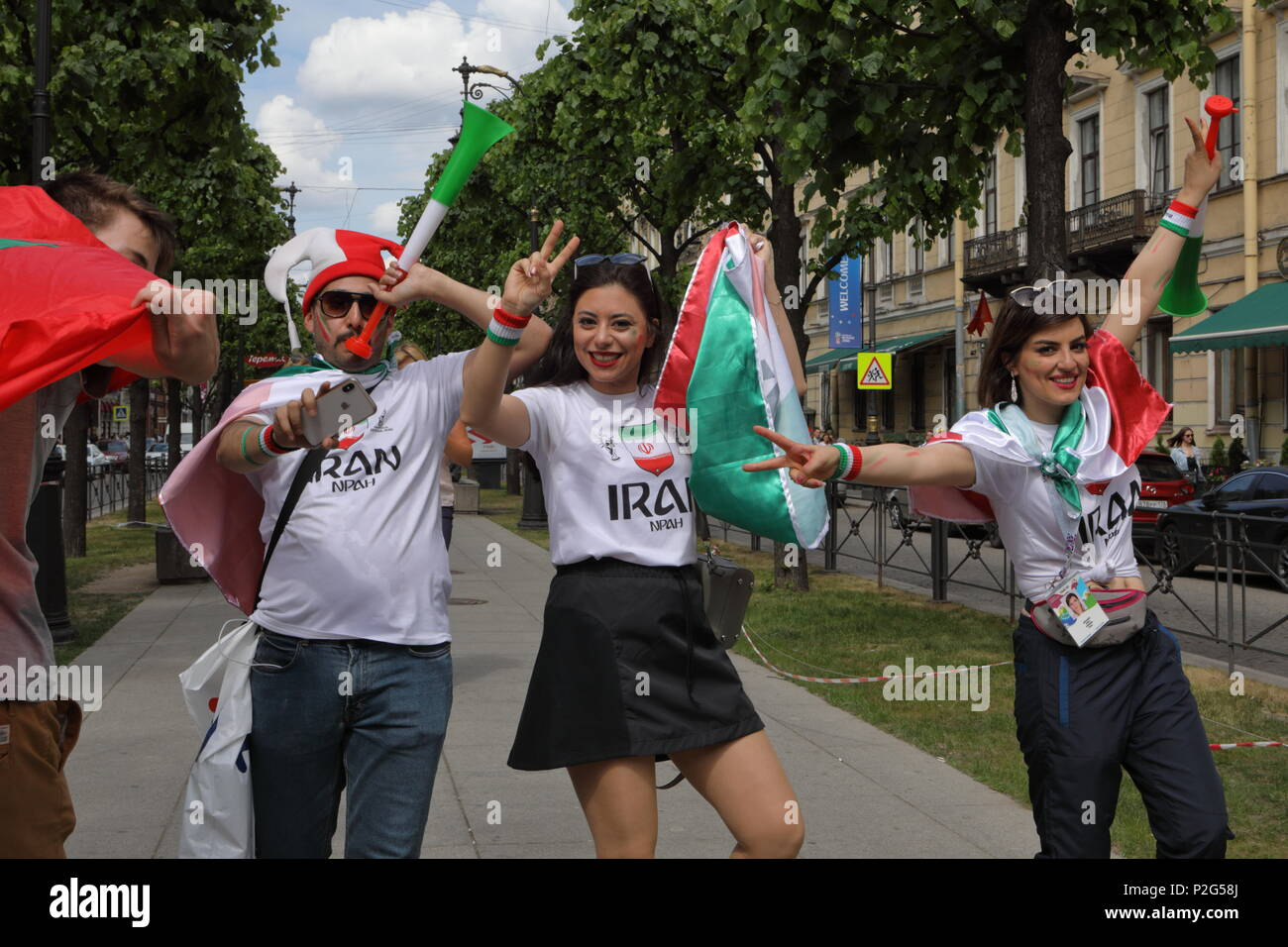 St. Petersburg, Russia, 15th June, 2018. Iranian football fans in Saint-Petersburg on the day of first match of FIFA World Cup 2018 in the city. It is the match Morocco vs Iran Credit: StockphotoVideo/Alamy Live News - Stock Image