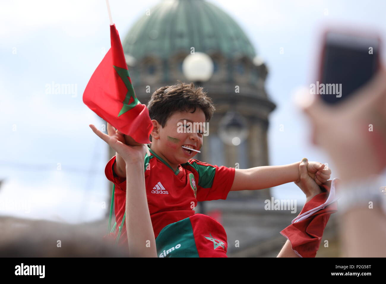St. Petersburg, Russia, 15th June, 2018. Young Moroccan football fans in Saint-Petersburg on the day of first match of FIFA World Cup 2018 in the city. It is the match Morocco vs Iran Credit: StockphotoVideo/Alamy Live News - Stock Image
