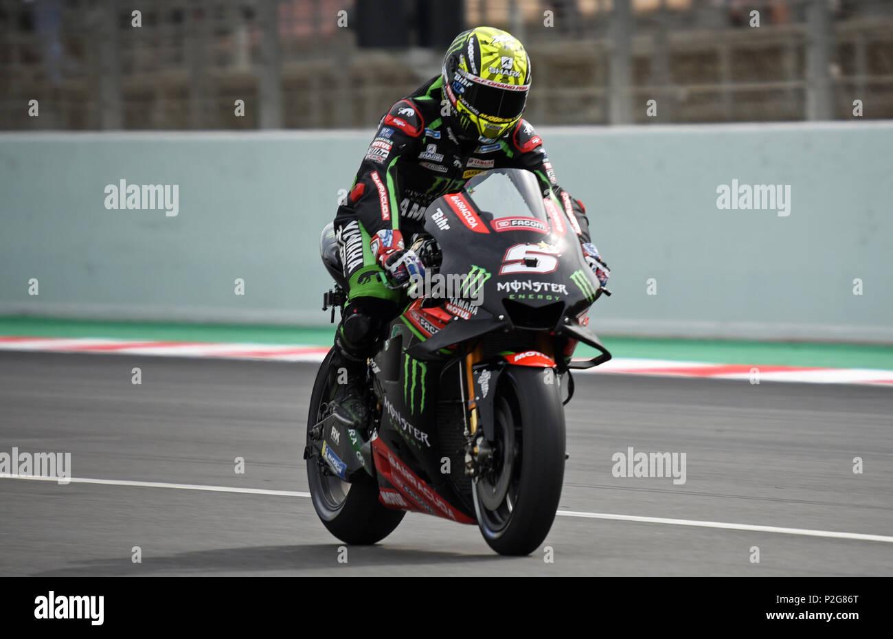 Barcelona -15th June 2018- SPAIN: Johann Zarco during the free practice of the GP Catalunya Moto GP, in the Barcelona-Catalunya Circuit, on 15th June 2018. Photo: Joan Valls/Urbanandsport/Cordon Press - Stock Image