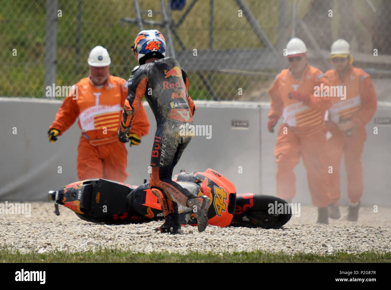Barcelona -15th June 2018- SPAIN: accident of Pol Espargaro during the free practice of the GP Catalunya Moto GP, in the Barcelona-Catalunya Circuit, on 15th June 2018. Photo: Joan Valls/Urbanandsport/Cordon Press - Stock Image