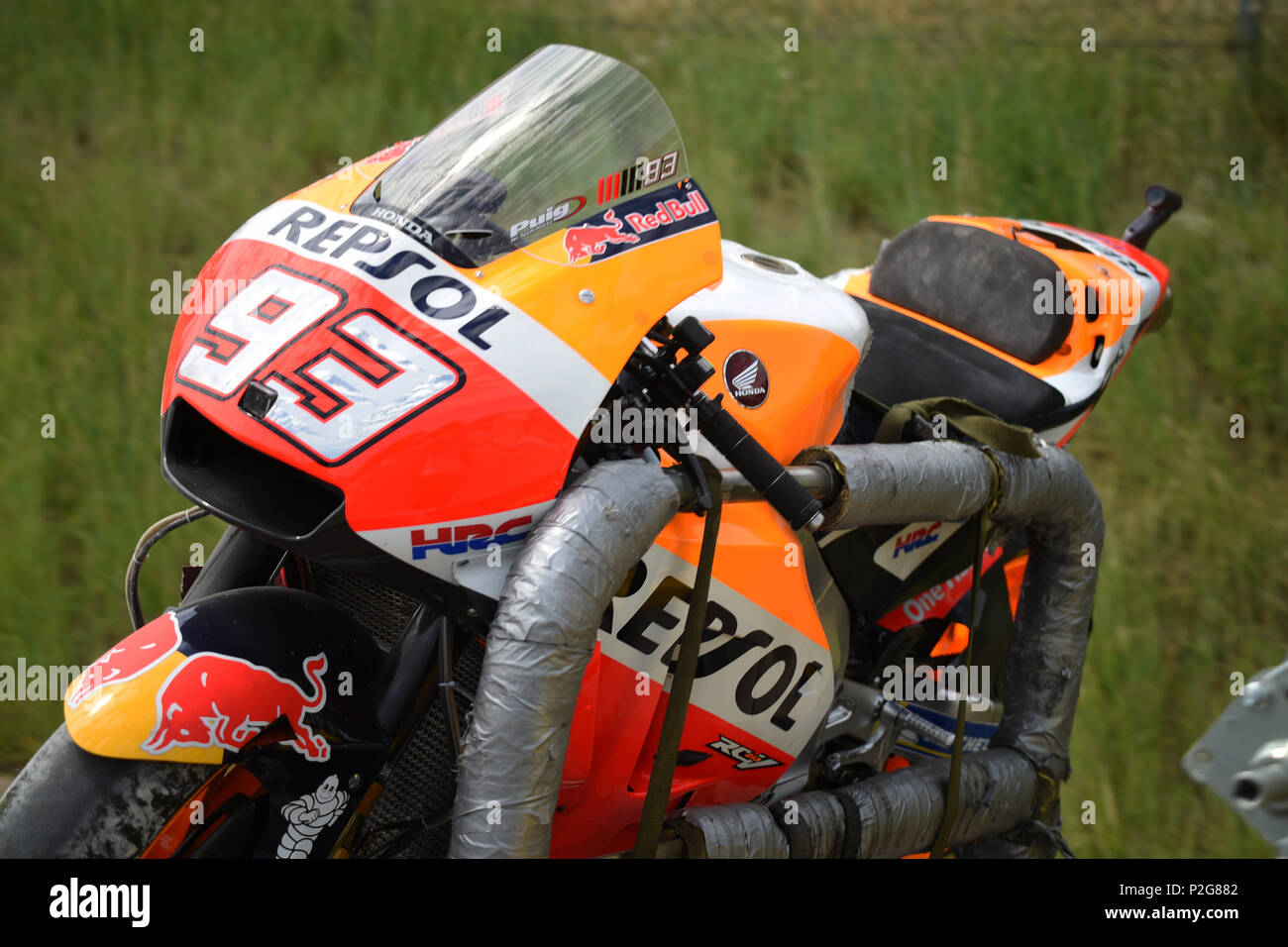 Barcelona -15th June 2018- SPAIN: accident of Marc Marquez during the free practice of the GP Catalunya Moto GP, in the Barcelona-Catalunya Circuit, on 15th June 2018. Photo: Joan Valls/Urbanandsport/Cordon Press - Stock Image