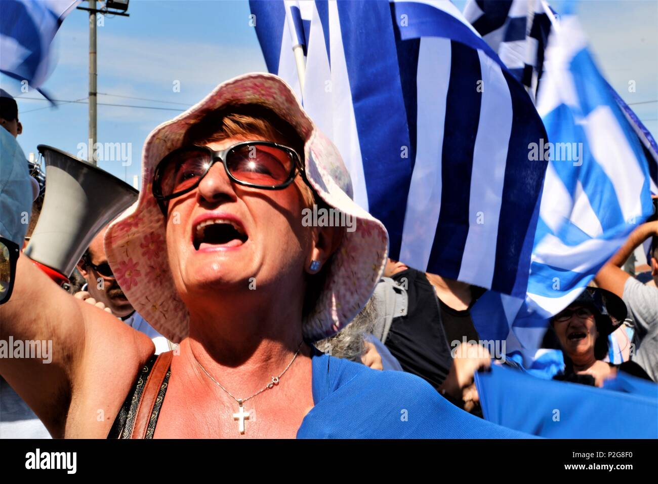 Athens Greece 15th June 2018 A Woman Is Seen Cheering During The
