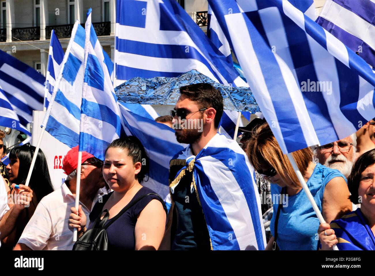 Athens Greece 15th June 2018 Protesters Holding Flags During The