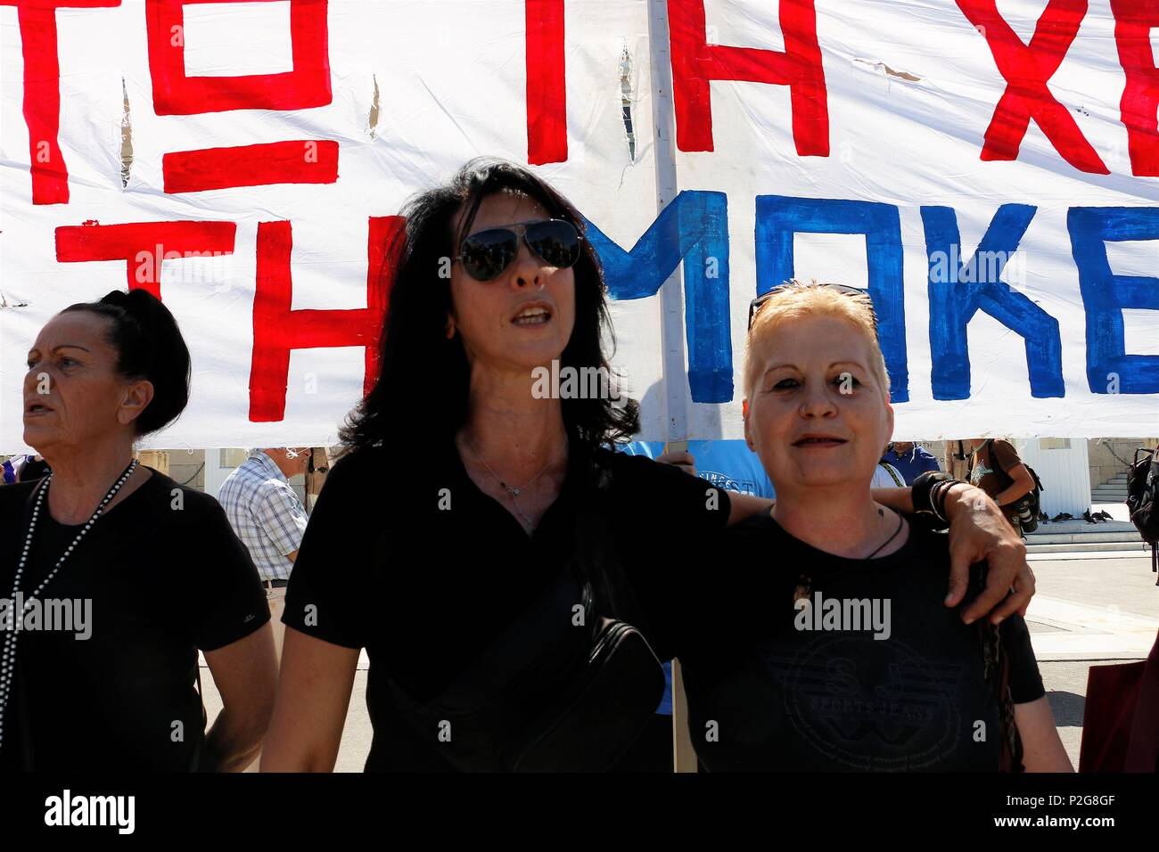 Athens Greece 15th June 2018 Two Women Are Seen Standing In