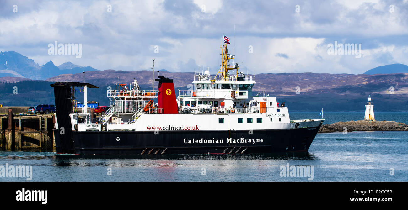 The car ferry which takes passengers and transport to and from Mallaig Harbour in Lochaber and Armadale, Isle of Skye in the Highlands of Scotland. - Stock Image