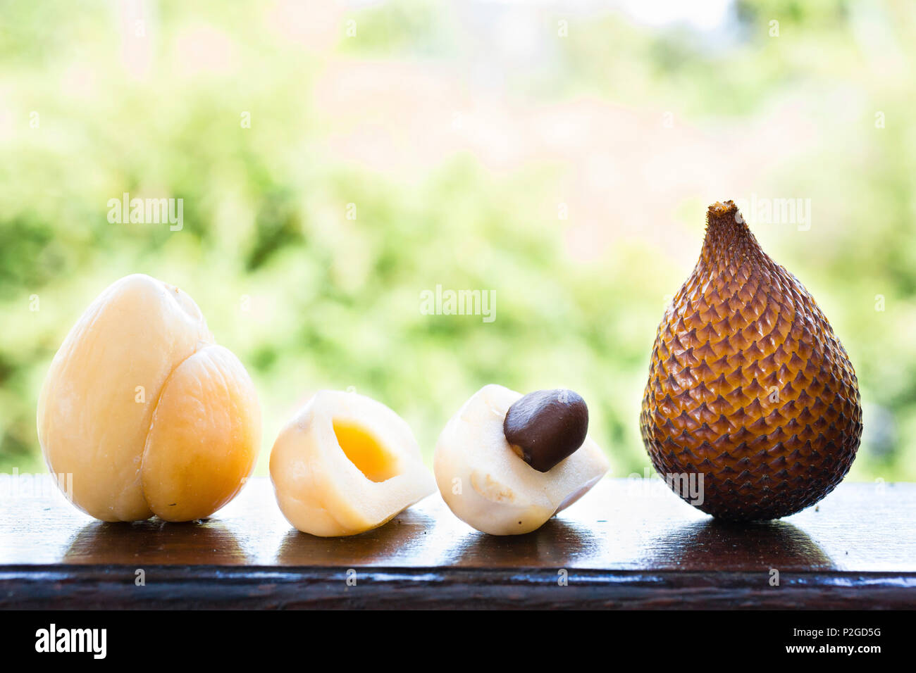 Salak fruit, snake fruit, peeled and open, Sidemen, Bali, Indonesia - Stock Image