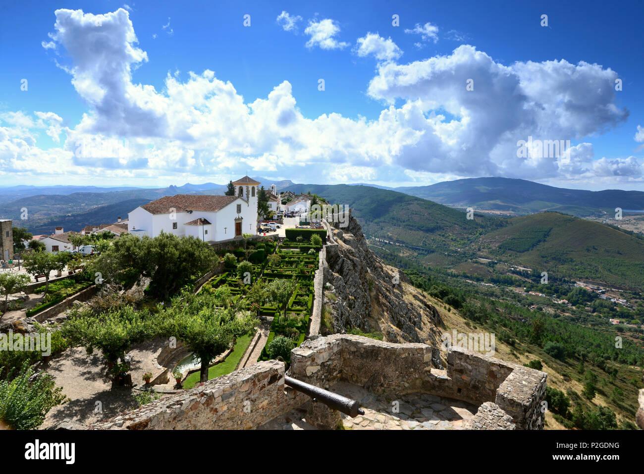 Blick von der Burg, Marvao, Serra de Sao Mamede, Alentejo, Portugal - Stock Image