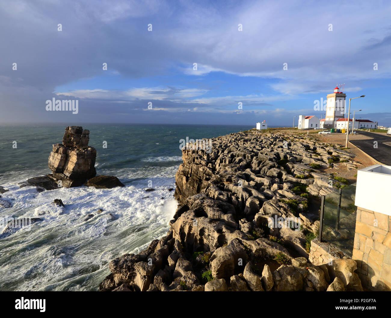 Lighthouse, Cabo Carvoeiro, Peniche, Costa da Prata, Centro, Portugal - Stock Image