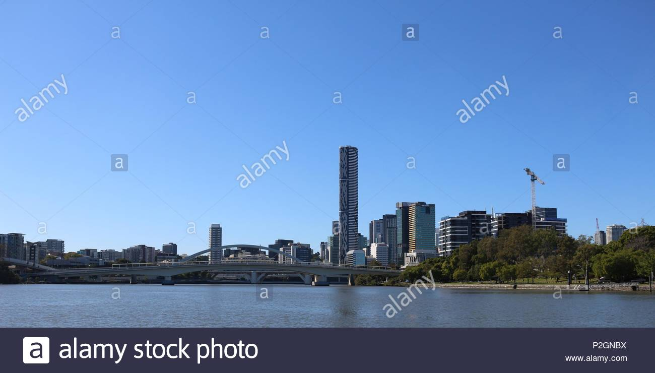 Waterfront skyline of Brisbane (Australia) - view from river - Stock Image