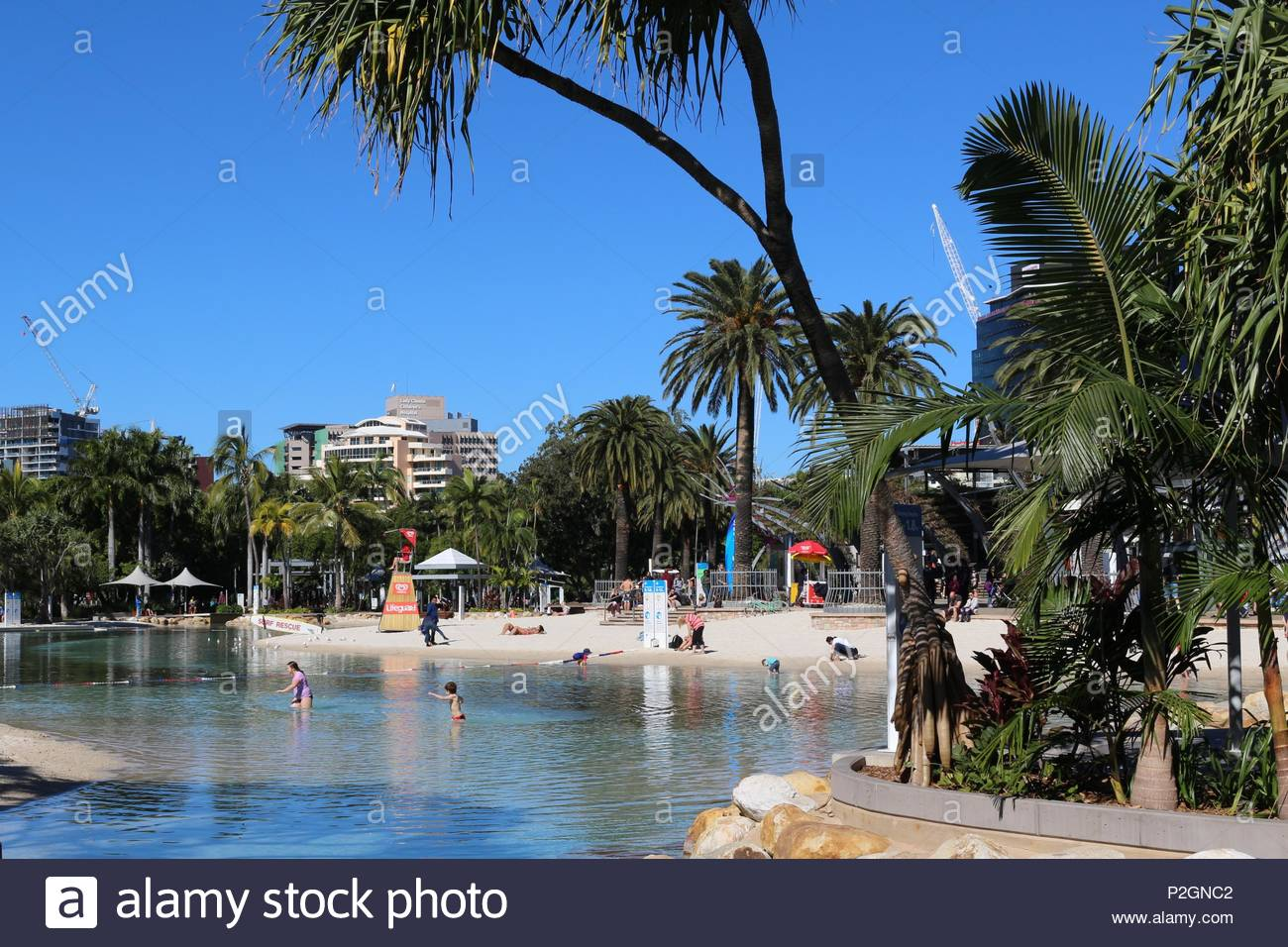 Brisbane, Queensland / Australia - Jul 3 2016: Lovely beach created in the middle of the city - Stock Image