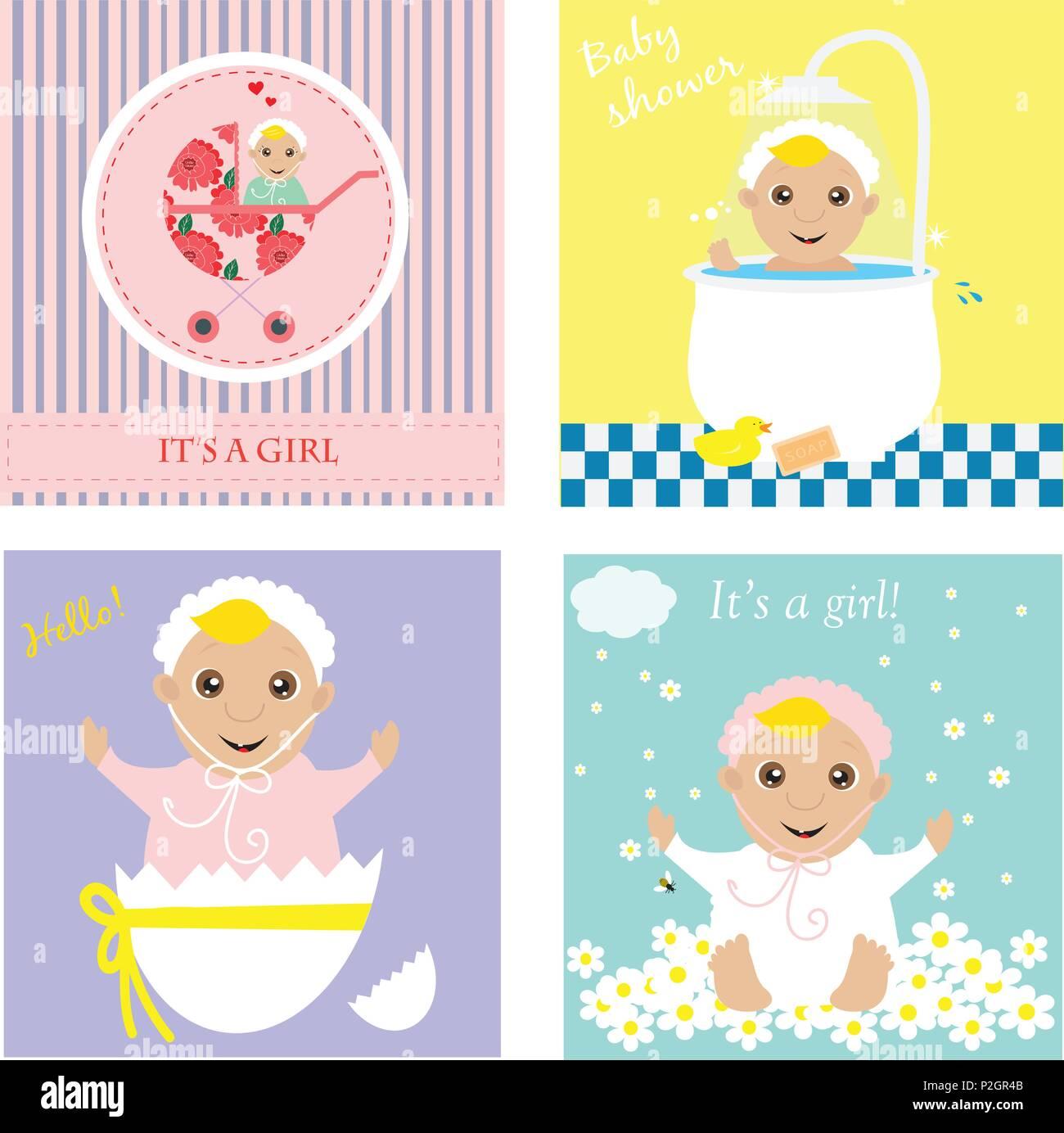 Set of baby shower invitation greeting cardsposter vector set of baby shower invitation greeting cardsposter vector illustrations m4hsunfo
