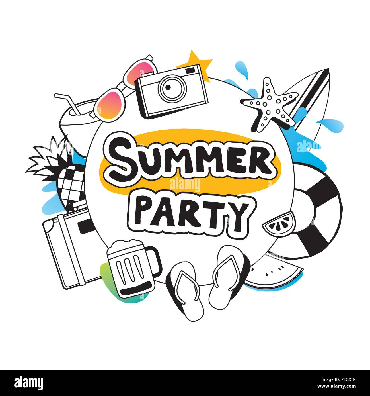 Summer party with doodle icon and design on white background. Invitation poster in hand drawn