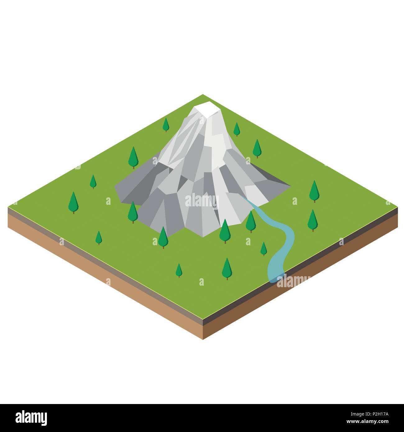 Isometric Mountain Range, mountain and river landscape in the woods. Outdoor leisure-Vector 3d isometric Illustration. - Stock Vector