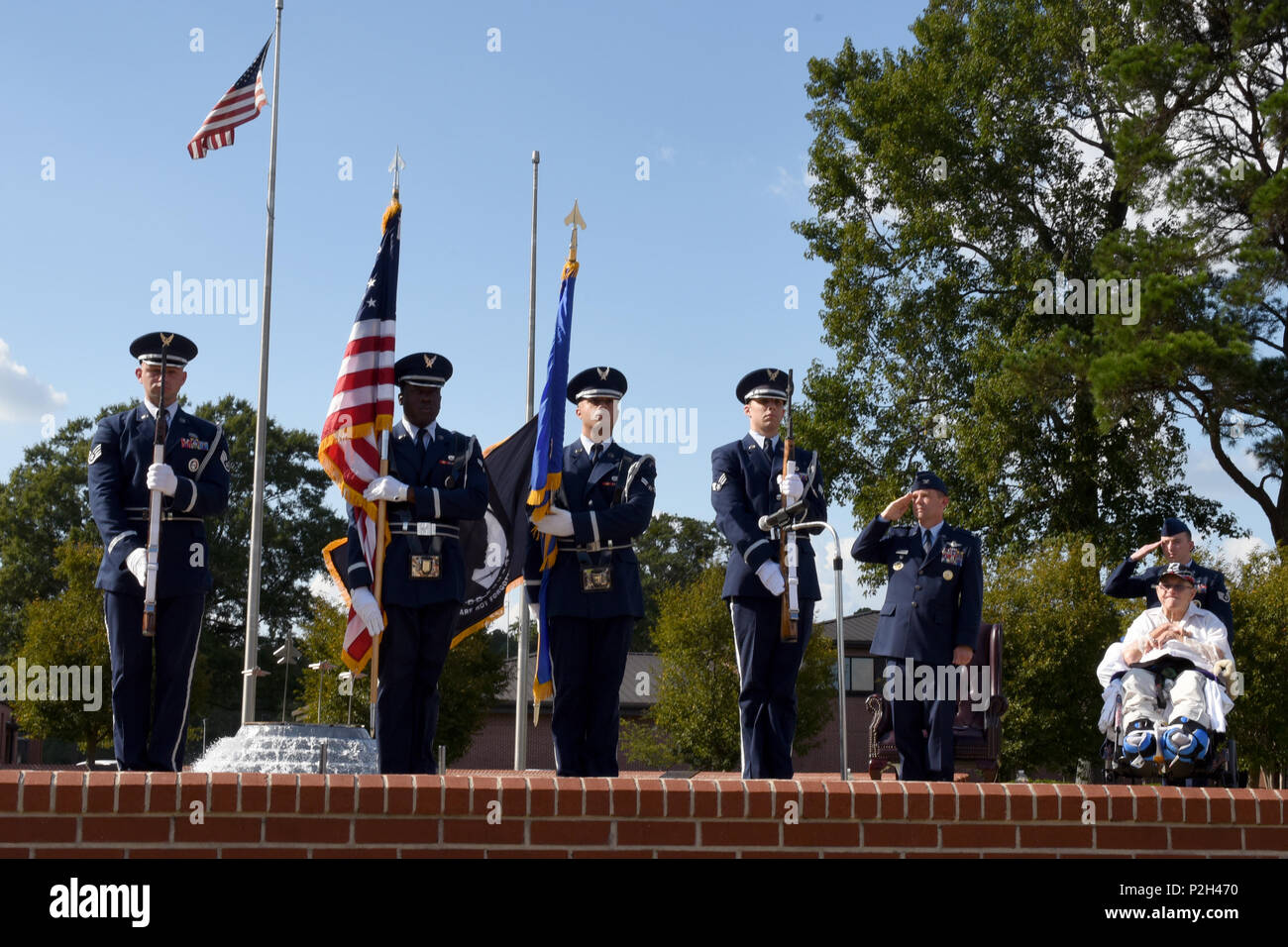 The Seymour Johnson Air Force Base Honor Guard presents the flags