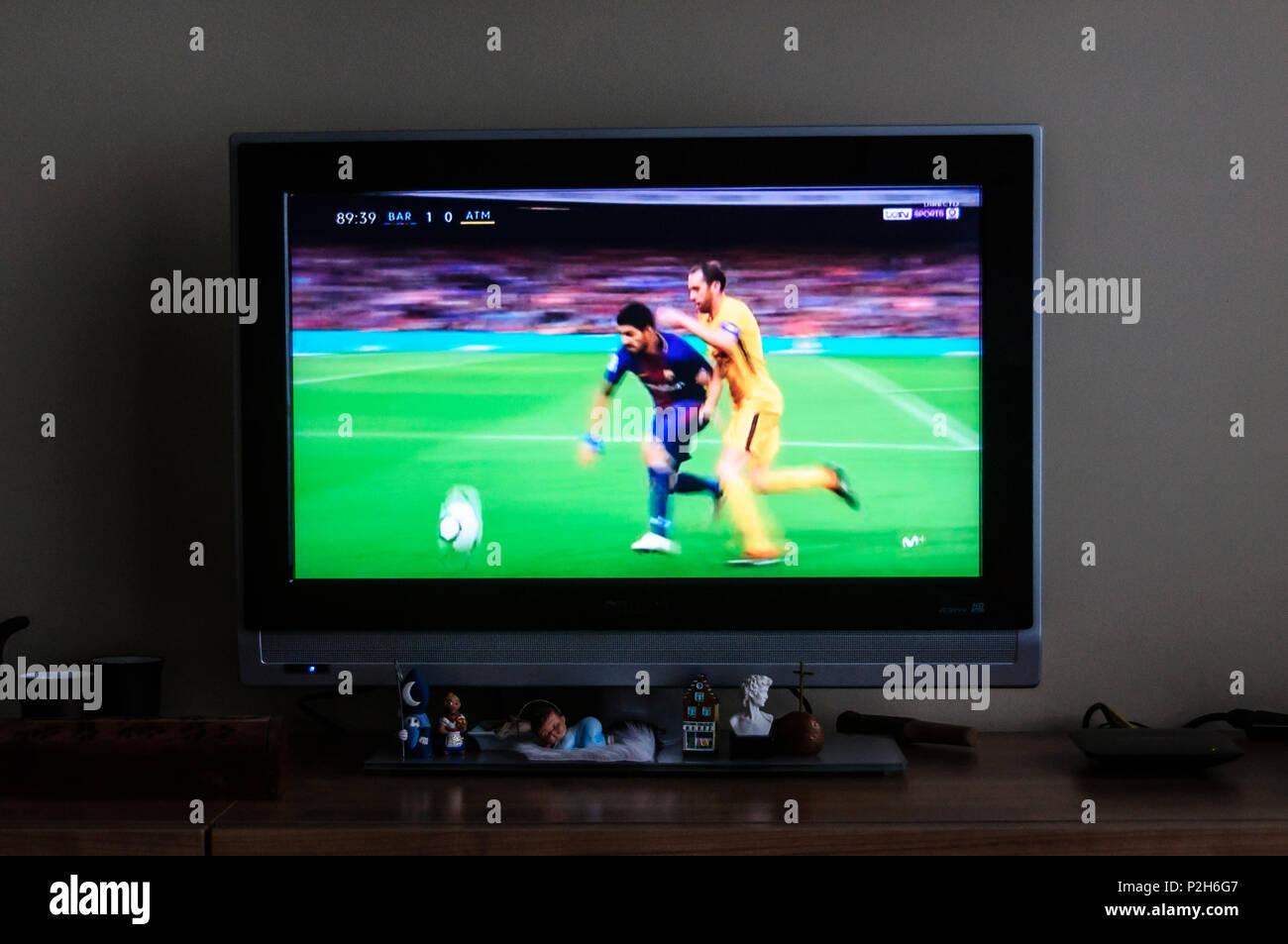 Suarez on tv football macht - Stock Image