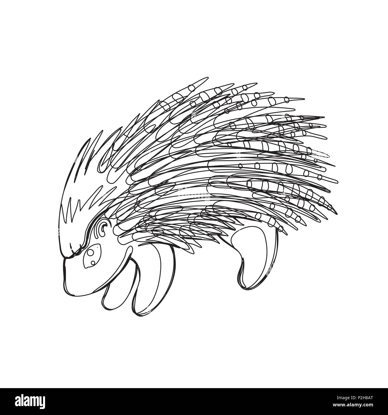 Vector illustration of porcupine in continious line graphic style, black countour outline sketch isolated on white - Stock Vector