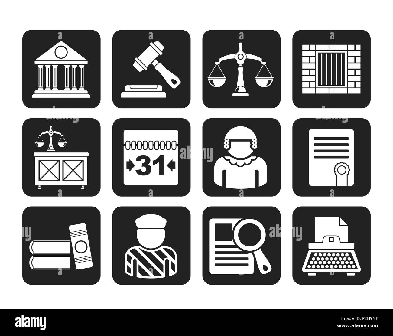 Silhouette Justice and Judicial System icons - vector icon set - Stock Image