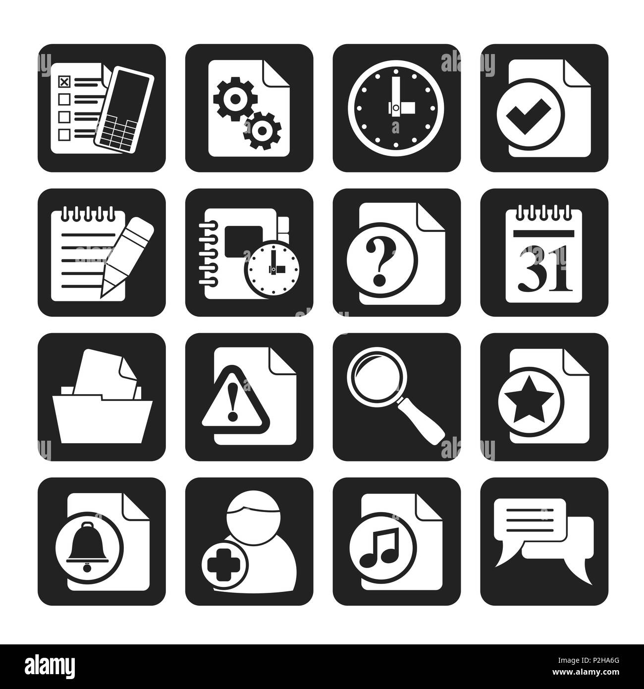 Silhouette Organizer, communication and connection icons - vector icon set - Stock Vector