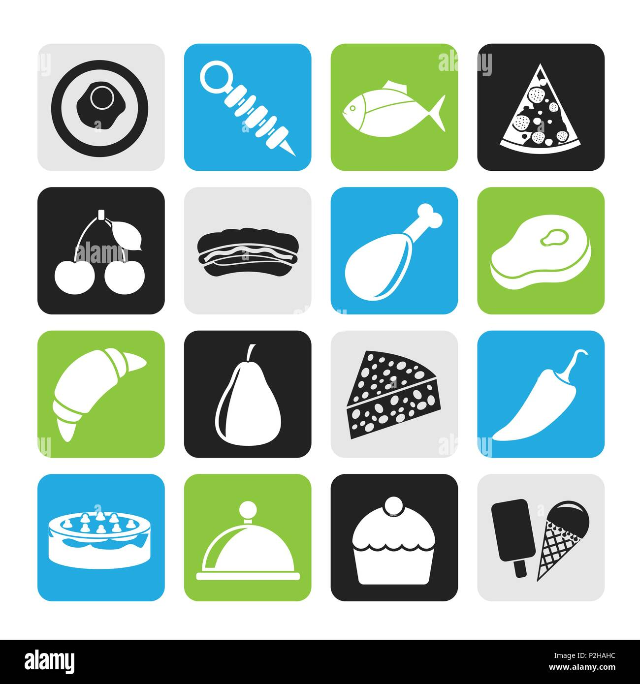 Silhouette Different kind of food icons - vector icon set - Stock Image